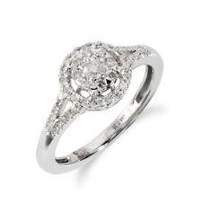 Diamond Cluster Not Enhanced White Gold Fine Rings