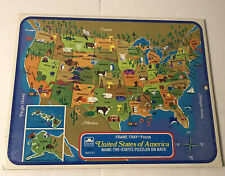 1968 Golden & Design Map Puzzle The United States of America Frame-Tray Puzzle