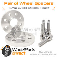 Wheel Spacers (2) & Bolts 15mm for Citroen C2 04-09 On Aftermarket Wheels