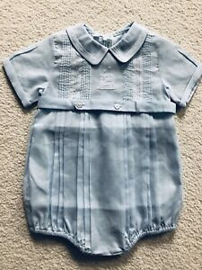 New Feltman Brothers 9M Boys Blue Bubble Romper Outfit with an Embroidered Train