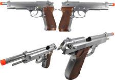 WE Full Metal Two Tone Chrome Elite Long M92 PTP Airsoft Gas Blowback Pistol GBB