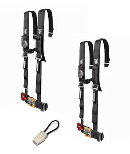 """Pro Armor 4 Point Harness 2"""" Pads Seat Belt Pair Bypass Black YXZ 1000R 2017+"""