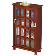Wood Sliding Door Media Display Storage Cabinet