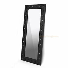 """MODERN FAUX LEATHER FAUX CRYSTAL TUFTED FLOOR MIRROR WHITE, BLACK, PINK 71"""" TALL"""