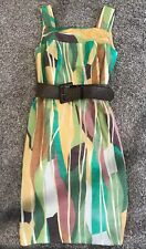 Kay Unger Formal Cocktail Dress Sz 2 Green & Brown Belted Waist Euc