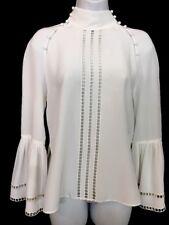 Fendi Blouse  White Silk High Collar Ribbon Ruffle Cuff Size40 NWT