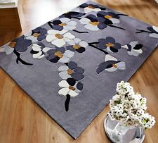 Modern Floral Design Thick Hand Carved Oblong and Round Rug in 4 Sizes Carpet