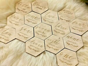 Wooden Monthly Milestone Hexagon Props for Baby Photos, Baby Shower Gift, MC7