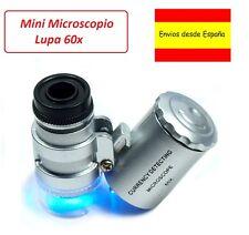 LUPA 60X MICROSCOPIO  CON LUZ LED ESTUCHE  SELLOS NUMISMATICA LECTURA