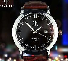 YAZOLE Männer Leder Glas wasserdichte Edelstahl analoge Quarz Armbanduhr Watch