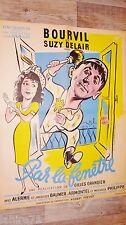 bourvil PAR LA FENETRE ! affiche cinema rare 1948