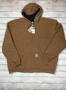 Carhartt Mens Big/Tall Thermal Lined Duck Active Hooded Jacket Sz 2XL Beige