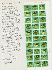 Jamaica 1969 Overprint Varieties & Flaws - 3c SG282, Block Sheet Numbering Query