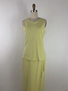 Ann Taylor Chartreuse Silk Two Piece Skirt Set Size 2-4