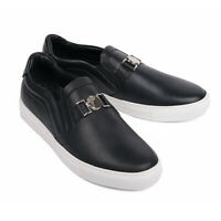Versace Collection Black Leather Slip-On Sneaker EU 43 US 10 NEW