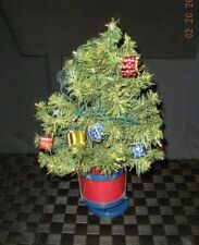 """Lighted Musical Miniature Red & Blue Drum Christmas Tree 12""""  W/10 Clear Lights"""