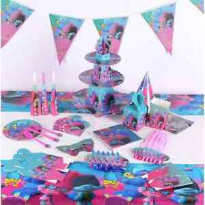 TROLLS BIRTHDAY PARTY TABLE COVER PLATES CUPS NAPKINS BUNTINGS FLAGS STRAWS