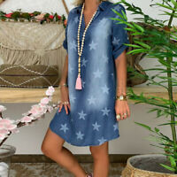 Womens Short Sleeve Denim Shirt Dress Ladies Casual Baggy Jean Dresses Size 8-18
