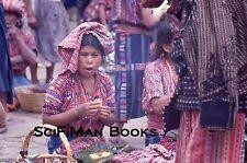 Vintage 35mm Slide Guatemala Market Scene Pretty Women Hat Costume Fashion 1970s