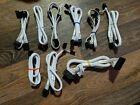 Nine+NEW+Corsair+WHITE++braided+modular+power+cables+%28set%29