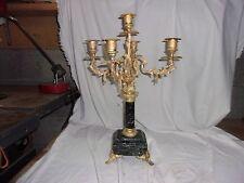 Chandelier 5 feux bronze dore et marbre vert
