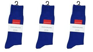 Calvin Klein 3-Pairs Cotton Crew Men's Socks One Size NWT Sapphire Blue