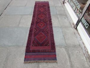 Vintage Hand Made Afghan Mushvani Oriental Red Blue Wool Narrow Runner 256x61cm