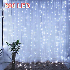 300/600 LED Curtain Fairy String Lights Decor Wall Wedding Party Lights Remote