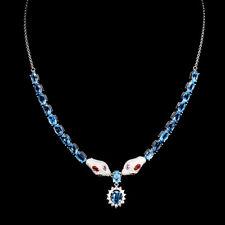 Collier Schlange Blautopas Swiss Blue Saphir & CZ 925 Silber 585 Weißgold verg.