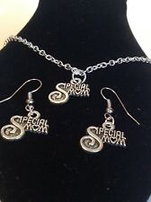 special mum  necklace and matching hook earrings-silver plated 18 inch chain
