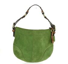 Coach Green Suede Tan Leather Handbag Purse