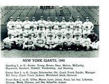 1940 NEW YORK GIANTS 8X10 TEAM PHOTO BASEBALL USA
