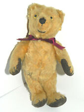 "Early 1900s Antique 10""American Teddy Bear Mohair Glass Eyes Straw Corduroy Pads"