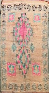 Antique Authentic Berber Moroccan Vegetable Dye Area Rug Hand-knotted Wool 6x11