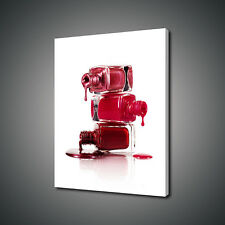 DRIPPING RED NAIL POLISH MODERN CANVAS PRINT WALL ART PICTURE PHOTO