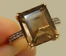 9CT SMOKEY QUARTZ DIAMOND SINGLE STONE  RING 9 CARAT YELLOW GOLD SIZE L