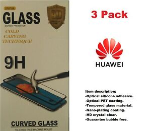 3 Pack Full coverage Tempered Glass for Huawei Devices. Black