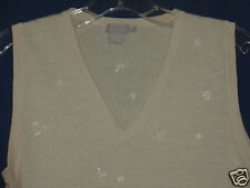 Junior Medium or Womens Small J Crew beige tan knit shell top embroidered XC