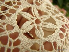 """French Country ~Vtg. BOBBIN Lace Pillow Cushion Ecru Cotton HAND Embroidered 16"""""""