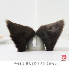 1 pair Lolita Coffee Anime Cosplay long fur Fox ears Party Neko Cat ear