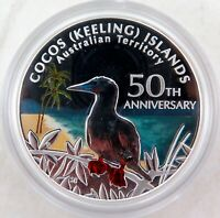 .2005 .999% FINE SILVER 1oz COLOURED PROOF $1. COCOS KEELING 50TH ANNIVERSARY.