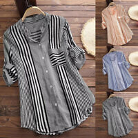 Women's Plus Size 3/4 Sleeve Striped Print V-Neck Loose Fit Tops T-Shirt Blouse