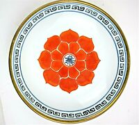 Vintage Japanese Floral Porcelain Ware Metal-clad Plate Decorated In Hong Kong