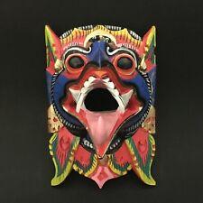 Garuda Bird Indonesia Blue Mask Hindu Balinese Wood Carving Wall Art Hanging