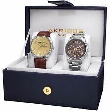 Akribos XXIV AK972SS-S Men's Leather Strap/Stainless Steel Bracelet Watch Set
