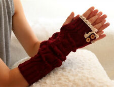 Winter Arm Warmer Lady Knitted Fingerless Gloves Xmas Crochet Button Lace Gift