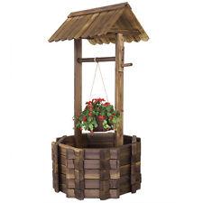 Wishing Well Rustic Fir Wood Bucket  Planter Yard Garden Lawn Wooden Wedding NEW