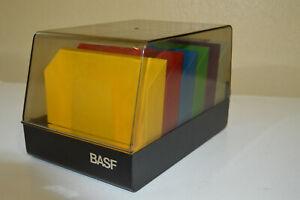 Vintage BASF 5.25 Floppy Disc Holder File Case Computer Storage 1980's colors