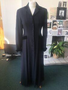 Vintage Laura Ashley Black Victorian Wool Dress Coat Size 12 Velvet Trim Gothic