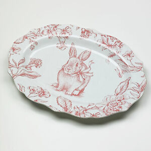 Oakley Easter Bunny Rabbit Floral Ceramic Oval Serving Platter by 222 Fifth